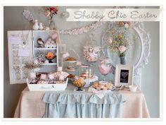 Shabby chic Easter buffet/dessert table