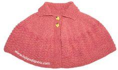 Cómo tejer una capa con cuello para niñas de 3 a 4 años en dos agujas o palitos!