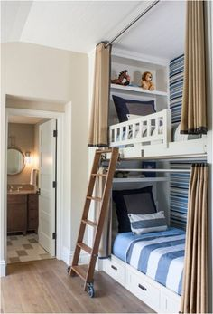 built in bunks with curtains