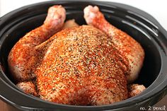 Slow Cooker Chicken (Whole) -One of my favorite ways to make a whole chicken is in my slow cooker. Slow Cooker Chicken is so easy to throw together, and at dinner time you have a lovely whole chicken to eat or shred and use in another recipe. You'll come back to this recipe time and time again.