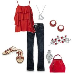 red outfit, created by schatzibags