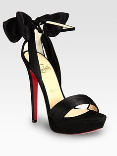 Christian Louboutin Vampanodo Satin and Suede Bow Platform Sandals