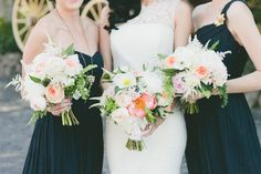 bridesmaids, pink flowers, bridal bouquets, brendon urie, peach, black bridesmaid dresses, bridesmaid bouquets, green weddings, honey