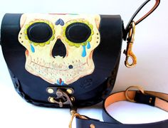 leather BELT and SHOULDER BAG cross body bag sugar skull Day of the Dead Dia de los Muertos $145.00 USD Only 1 available