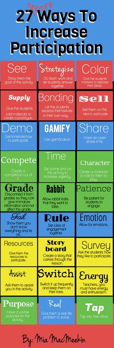 27 more ways to increase participation; to help me remember some different ways to mix it up:)