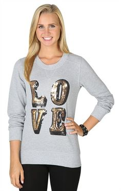 Deb Shops Long Sleeve French Terry Top with Sequin Love Patch $18.13