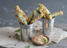 Cheesy Zucchini Fries With Smoked Paprika Dipping Sauce