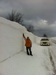 A snow drift along M116 in Ludington Michigan on February 7, 2014.
