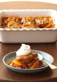 Extra Easy Cinnamon Fruit Cobbler -- The name says it all! Ready for the oven in just 15 minutes, this dessert recipe is the perfect way to end tonight's meal.