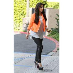 Fashion Beauty Glamour Kim Kardashian out in LA April 9, 2012 wearing a neon orange jacket found on Polyvore
