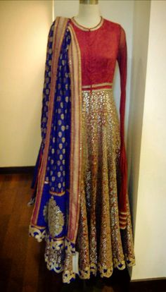 Blue and red anarkali