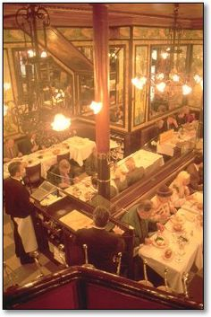 Brasserie Lipp. Paris, France.  Arguably the most famous brasserie in Paris, this Belle Epoque decorated institution is situated on Boulevard St Germain. Founded in 1880 and frequented throughout history by famous writers, artists and politicians.  Stiff entry and seating hierarchy- regulars and VIPs in the first room, locals in the second, and tourists are sent upstairs (the best dining experience is discreetly people watching in the front room