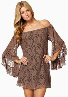 Sexy Khaki Mocha Off Shoulder  Long Sleeve Wrap Lace Mini Dress #Sexy #Khaki #Mocha #Off_Shoulder  #Long_Sleeve #Lace #Mini_Dress