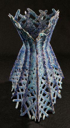 Hypermnestra 2006   press molded earthenware paperclay, glazes, gold lustre  By Kathy Kranias
