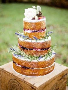 Naked cake with lavender