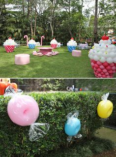 Candyland quinceanera - Giant cupcakes made from balloons. Awesome!!