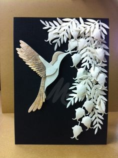 Card Created by Deanna Pannell of In the Making Enterprises. Dies used to create this card: IME-001 Hummingbird, IME-009 Sm. Pair Leaves, IME-019 Flourish Set 2.