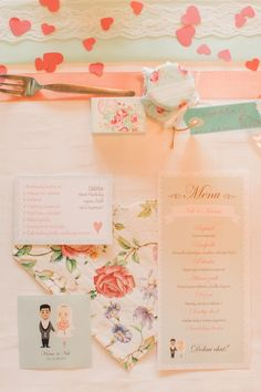 peach and mint paper goods, photo by Peter and Veronika http://ruffledblog.com/pastel-slovak-wedding #papergoods #invitations #wedding