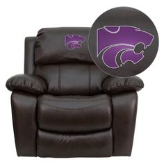 Kansas State University Brown Leather Recliner at www.SportsFansPlus.com