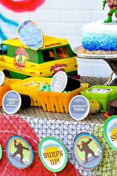 Retro Surfing Ninja Turtle Themed End of Summer Party with Totally Awesome IDEAS via Kara's Party Ideas | KarasPartyIdeas.com #TMNT #Cowabunga #NinjaTurtle #Surf #PartyIdeas #SummerParty