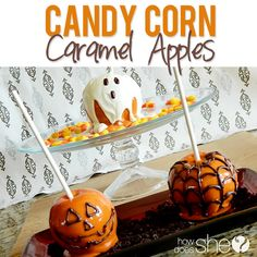Candy corn caramel apples #howdoesshe #desserts #halloween #recipes howdoesshe.com