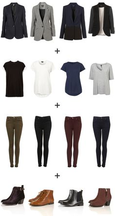 Simple Fall casual wardrobe basics. This is 256 outfit combinations!! I'd do more of a variety of pieces instead of the same thing in different colors. I'm buying these clothes as soon as I get some money-Rhianna