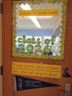Class of _____ door greeting. College graduates enter here.