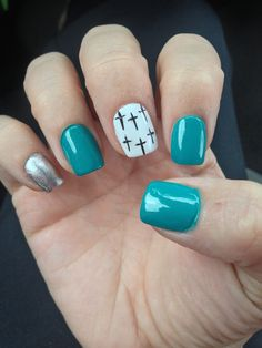 My new fall nails design! Crosses and Turquoise!!