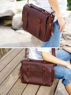 "Vintage Handmade Genuine Oil Tanned Leather Briefcase / Messenger / 11"" Macbook 12"" Laptop Bag"