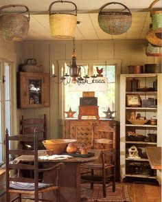 american countri, wicker baskets, hang basket, primitive country, primit decor, beam, primit kitchen, hanging baskets, primitive kitchen