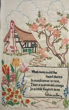 sew, needlework, heart desir, handembroid motto, english cottag, stitch, embroidery, sampler, embroideri
