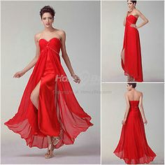 Red prom dress with sweetheart neckline. It features sleeveless,maxi length, a line shape, built in bra,front split, handmade sequins, lace up closure. The main material is elastic high quality chiffon. It is custom made dress, and there are many colors available, like black, red, champagne, royal blue, purple, fuschia and so on.