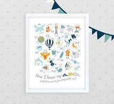 Modern Illustrated Alphabet Nursery Art Print  $38.00, via Etsy.