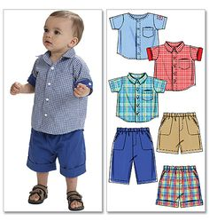 mccall pattern, infant, sew pattern, clothes patterns, summer shorts, shirt