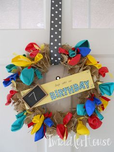 Burlap Birthday Countdown Wreath created by Twiddler House, featured on www.dailydoityourself.com