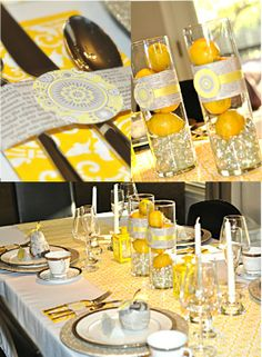 vases with lemons and sparkly paper