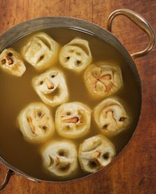 shrunken apples heads in a apple cider punch, love it!