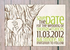 Save the Date - tree etch. $25.00, via Etsy.