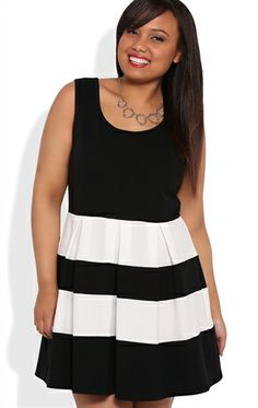 Deb Shops Plus Size Skater Dress with Striped Pleated Skirt