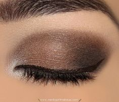 brown eyes with a hint of white at the corner for brightness -- older women should do matte not shimmer