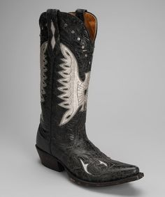 Take a look at this Barn Black Leather T-Toe Distressed Eagle Western Boot - Women by Johnny Ringo Boots on #zulily today!