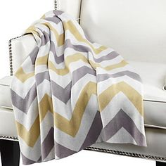 We've picked one of our favorite color combos from this season's collections to design our exclusive Chevron throw. Citrus & Steel, $59.95