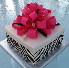 chocolates, ribbon, sheet cakes, zebra stripes, wedding cakes, pink, bows, parti idea, zebra print