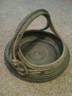 Texas Western Rope Bowl Basket with Handle Cowboy Lasso Ranch Home Decor - MADE IN TEXAS