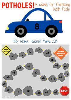 Boy Mama Teacher Mama | Potholes! A Math Facts Practice Game
