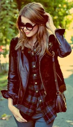 Check Shirt With Jeans And Black jacket