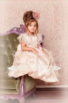Champagne Princess Puff Flower Girls Dress