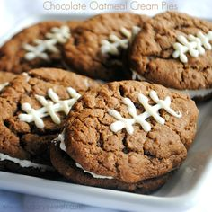 Chocolate Oatmeal Cream Pies for football season! Just like the classic, but chocolate!