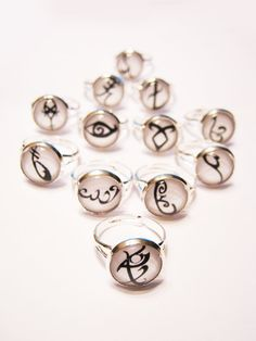 Rings with the runes from The Mortal Instruments books