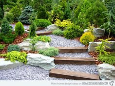 Railroad ties are used for this pathway and then filled with gravel.